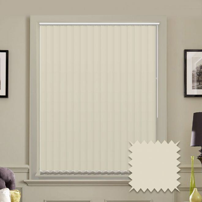 Made to measure vertical blinds in Splash Beige plain fabric - Just Blinds